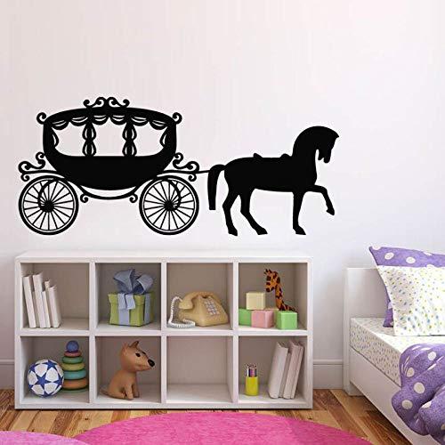 WWYJN Girl Room Decor Carriage Princess Horse Wall Sticker Cute Nursery Wall Mural Carriage Wall Decals Princess Style Wall Art White 132x57cm