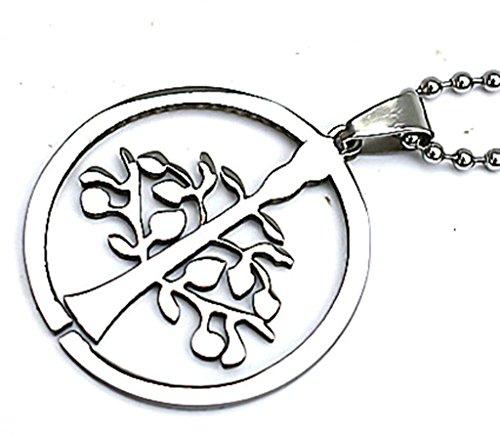 amdxd Jewelry Herren-Anhänger Edelstahl Halskette Vintage Style Silber Weihnachtsbaum 3,6* 3,3x (Schwarz Guy Puppe)
