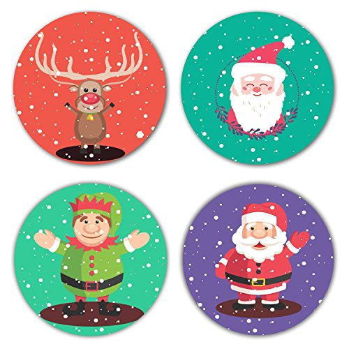 YaYa cafe Christmas Gifts, Merry Christmas Wooden Tea Coasters for Drinks Dining Table Set of 4