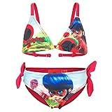 Miraculous LadyBug e Cat Noir - Costume 2 Pezzi Bikini con Fiocchetti Full Print Mare Piscina - Bambina - Novità Prodotto Originale 555-019 [Rosso - 10 anni - 140 cm]