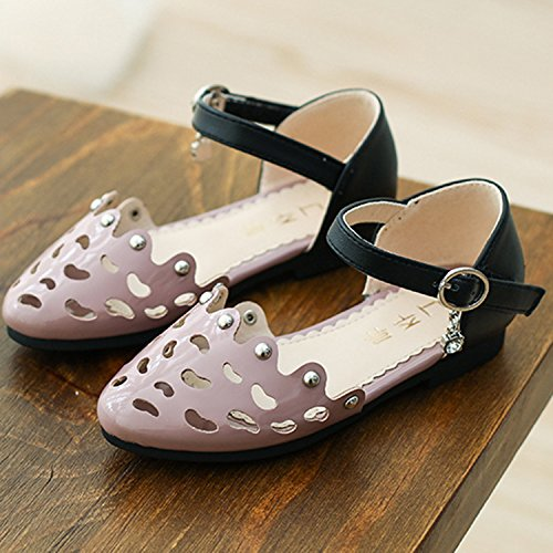 Oasap Girl's Round Toe Hollow out Buckle Mary Jane Shoes pink