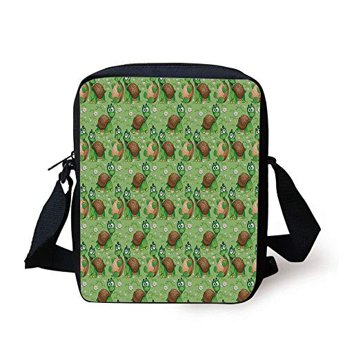 Nursery,Pattern with Cartoon Funny Turtles on Green Spring Meadow with Daisies Decorative,Green Brown Sand Brown Print Kids Crossbody Messenger Bag Purse -