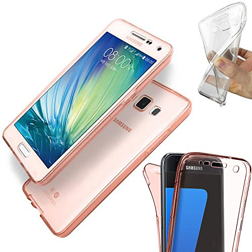 Trasparente e colorata, Full Body 360 ° di cover in gel per iPhone 8 Plus by Digi Pig® Rose Gold Tint