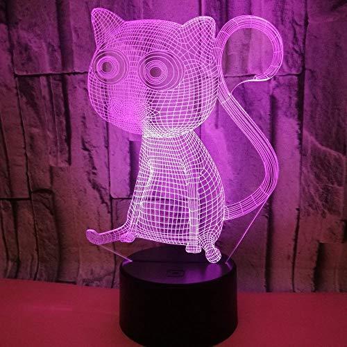Big Eye Cat 3D Licht Bunte Nachttischlampe Fernbedienung LED Vision Licht Beste Geschenk Kleine Tischlampe