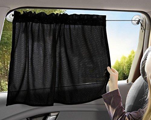 Wenko Sonnenschutz Vorhang in Schwarz aus Polyester, Auto-Vorhang zur einfach Montage an der Scheibe, mit Saugnoppen