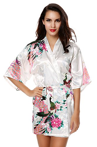 Damen Morgenmantel Satin, Sondereu Bademantel Kimono VAusschnitt ...
