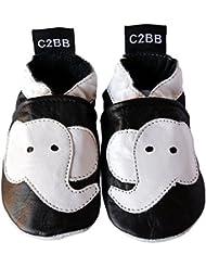 C2BB - Chausson bebe cuir souple garçon   Noir Elephant blanc