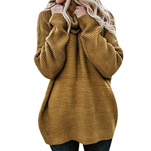 Damen Rollkragenpullover,Luotuo Frauen Mode Solide Langarm Strickpullover Herbst und Winter Freizeit Lose Pullover Tops Faul Sweater Streetwear