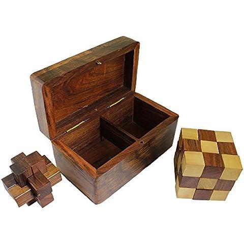 2-en-1 cubo de la serpiente y el cuadro de rompecabezas de bloqueo - 3d juego de rompecabezas de madera cerebro teaser de -5.8 x 12,2 x 6,6