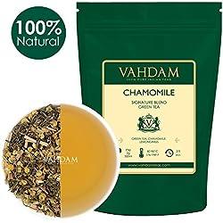 Kamille mit grünen Teeblättern aus dem Himalaya (100 Tassen) 100% Natürlicher Kamillentee - Beruhigend, Erfrischend & Entspannend, Schlafenszeit Tee, 200g
