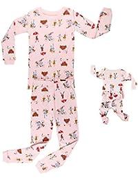 320a0f2e32 Elowel 2 Teiliges Schlafanzug Set Für Mädchen und Puppen Pyjama passend  Marienkäfer, Hase, Einhorn Design 100%…