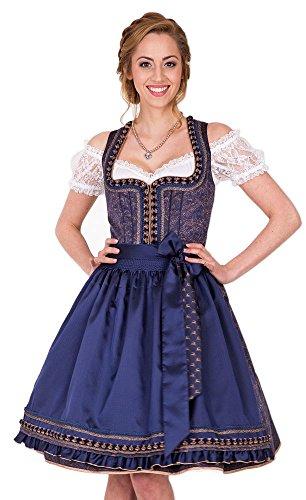 Krüger Collection Dirndl Midnight - Blau 60cm - Traumhaftes Trachten Kleid für Damen Dunkelblau