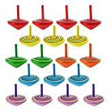 SAGESSE 18pcs Trottola colorate in legno,Trottola in legno fatte in legno colorato.Perfetto come regalo per compleanno del bambino.(Colore Casuale)