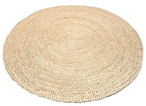 NaDeco Strohteppich schlicht 120cm rund | Maisstrohteppich Natur | Stroh Teppich | Maisstroh Teppich | Reisstrohteppich | Naturteppich