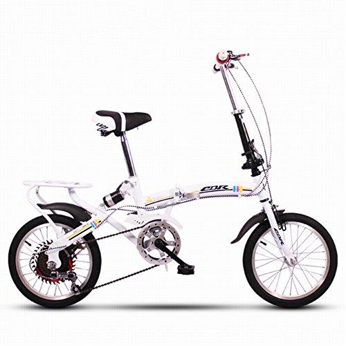 YEARLY Kinderfahrrad, Schüler klappräder Lightweight Mini Kleinen tragbaren Stoßdämpfende Variable 6-gang Männlich und weiblich Klappräder-Weiß 16inch