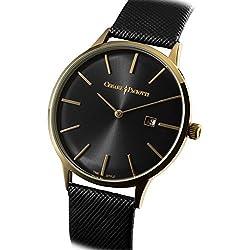 Uhr Cesare Paciotti Herren 42mm tsst121nur Zeit Gehäuse Stahl IP gold Armband Leder