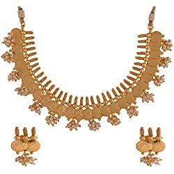 Ganapathy Gems 1Gram Gold Plated Lakshmi Coin Necklace With Pearls (7336)