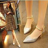 Xue Qiqi ragazza punta fine con impronta Tie Single shoe Play Ball pin catena sandali superficiale bocca scarpe con tacco alto scarpe da donna, Silver 6CM, 34