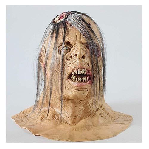 Bnmgh Gebrochener Kopf Glatze Alter Mann des Terrors Horror Maske Scary Kostüme Cosplay für Neuheit Zombie Haunted House Party Halloween - Glatze Frau Kostüm