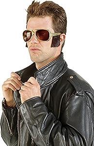Rubies - Gafas de rocker con patillas, para adultos, talla única, color dorado (S5320)