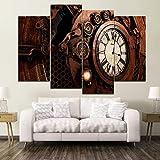 HOMEDCR Retro Steampunk Uhr Paintiing EIN Satz 4 Stück Modularen Stil Bild Leinwanddruck Typ Wohnkultur Wandkunstwerk Poster