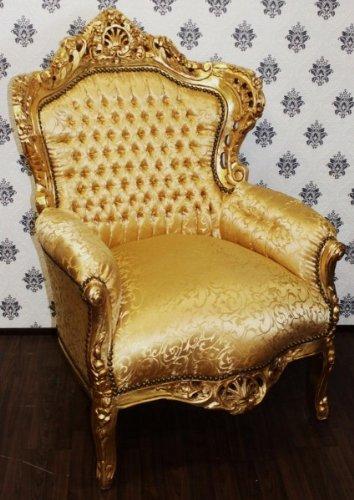 Barock Sessel Gold King Muster/Gold - Casa Padrino Möbel Antik Stil