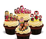 Matryoshka / Russian Dolls Edible Cupcake Toppers - Stand-up Wafer Cake Decorations by Made4You