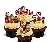 Made4You Matroschka/russische Puppen Essbare Kuchen Dekorationen–Stand-Up Wafer Cupcake Topper, 12er-Pack