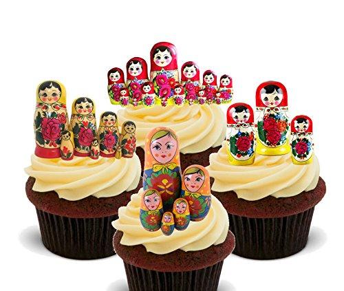 Made4You Matroschka/russische Puppen Essbare Kuchen Dekorationen-Stand-Up Wafer Cupcake Topper, 12er-Pack (Happy Birthday Essbare Kuchen Bilder)