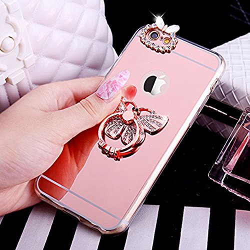 Coque iPhone 7, iPhone 7 Coque Brillante, SainCat Ultra Slim TPU Silicone Case Cover pour iPhone 7, Coque Sparkles Bling Glitter Diamante Strass Miroir Anti-Scratch Soft Gel 3D Silicone Transparent Si Or Rose #2