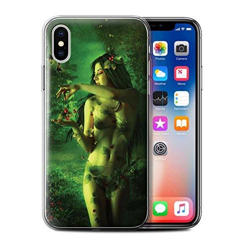 Offiziell Elena Dudina Hülle / Gel TPU Case für Apple iPhone X/10 / Feenstaub Muster / Einer mit Natur Kollektion Rote Kirschen