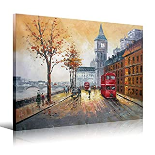 Modern Artwork Red double-decker bus on the Thames River in London Wall Art for Living Room Bedroom,Office Decorations Wall Decor 12x16inch(30x40cm)1pc