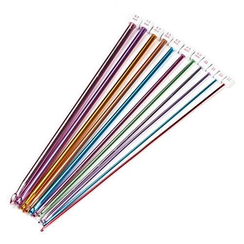 Ndier 11Stk 27cm Häkelnadel Mehrfarben Einzelkopf Aluminium tunesische Afghan Stricknadel in verschiedenen Größen |2,0 mm bis 8,0 mm| DIY Zubehör
