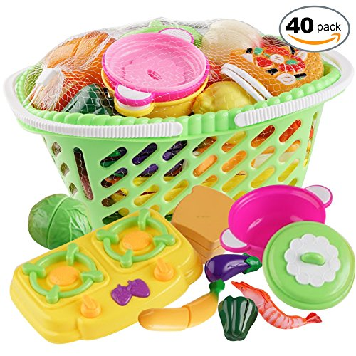 40 Rollenspiele Essen Spielzeug Spielset - Früchte, Gemüse Korb - Kinder Lehrreich Lernen So Tun Als Ob Abspielen Spielzeuge Für Jungen Und Mädchen - Kinder Küche Zubehörteil Zum Kochen Schneidsatz