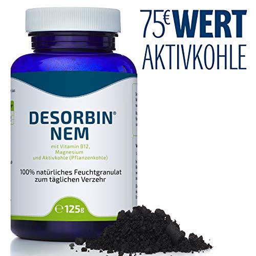 Desorbin AKTIVKOHLE mit Vitamin B12 und Magnesium, für weißere Zähne, gegen Blähungen, Durchfall, zur Darmreinigung, Detox uvm, 125gr.