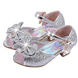 Zapatos de Lentejuelas de Niña Zapatosde Tacón Altode Princesa Zapatos de Fiestade Niños 24 EU/Etiqueta 26 Plata (Punta Abierta)