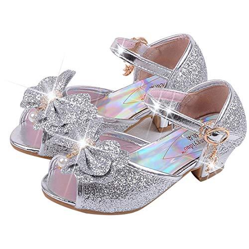 Mädchen Prinzessin High Heel Schuhe Kinder Party Pumps 26 EU/Etikette 28 Silber (offene zeh) (Pailletten Schuhe Mädchen)