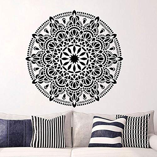 Mandala Wall Art Pattern Adesivi murali in vinile Lotus Adesivi murali decorativi per yoga Decorazioni per pareti di interni per interni Grigio scuro 42X42CM