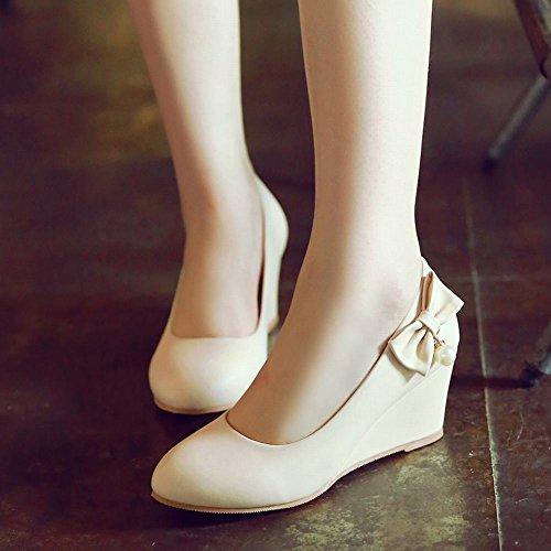 88102a907f89 ... Mee Shoes Damen modern bequem Keilabsatz runder toe Geschlossen mit  Schleife Pumps Aprikose