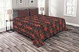 Abakuhaus Türkisch-Muster Tagesdecke Set, Orient Pomegranates, Set mit Kissenbezügen Ohne verblassen, für Doppelbetten 220 x 220 cm, Mehrfarbig