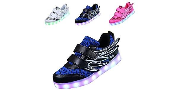 ECOTISH Unisex Kinder Neue LED Leuchten Schuhe 7 Farben, Die Blinkende aufladende Leuchtende Sport-Schuhe mit Flügel-Art-Art und Weiseturnschuhen Ändern (EU 29, Schwarz)