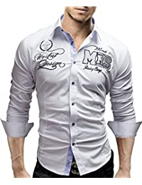 MERISH Chemise pour Homme Slim Fit manche longue Avec broderie moderne Modell 99