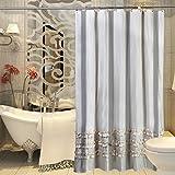 Encaje Rayas Tela de poliéster cortina de ducha baño nuevo acolchado resistente al agua molde, alto 180* 200