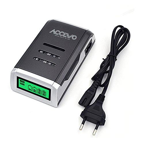 Galleria fotografica LCD Caricabatteria da auto, accevo 4Slot carica batteria per aa e AAA batterie (nero)