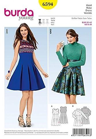 Burda Ladies Easy Sewing Pattern 6594 High Waist Pleated Skirt Dresses