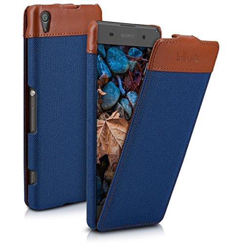 kalibri-Flip-Case-Hlle-Emma-fr-Sony-Xperia-XA-Aufklappbare-Stoff-und-Echtleder-Schutzhlle-Tasche-im-Flip-Cover-Style-in-Blau-Braun