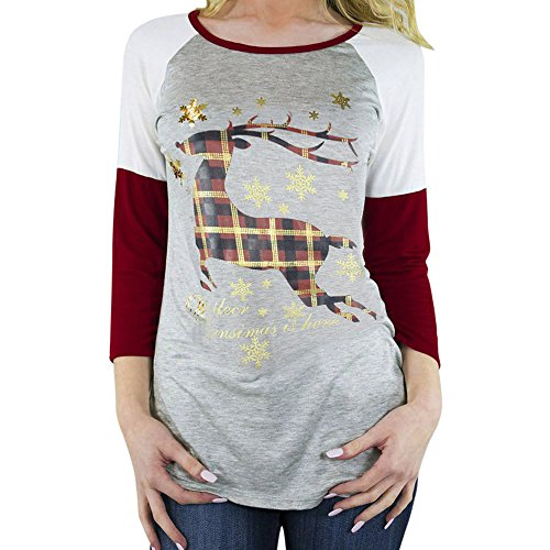 Christmas Sweater Damen UFODB Elegant Frauen Sweatshirt Drucken Pullover Nähen Lange ärmel T-Shirt Rundhals Ausschnitt Lose Bluse Oversize Baumwollshirt Tops