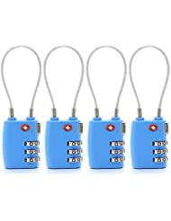 Virocana 3 Dial Combination TSA Lock Set-Your-own Combination Lock, Padlock Luggage Lock Travel Smart Cable Lock for Suitcase Luggage,Travel bags,GYM and Home Use(4pcs/Set)