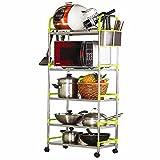 Aufbewahrung Große Stehende Küche Lagerregal 5 Tier Metall Einstellbare Küche Organizer Mikrowelle Stand Utensil Pot Pan Regal (größe : 5 tier)