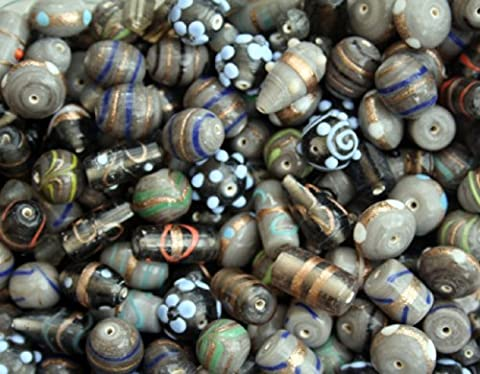 100g Handmade Grey Brown Indian Glass Lampwork Silver & Gold Foil Jewellery Making Beads Colour Mix